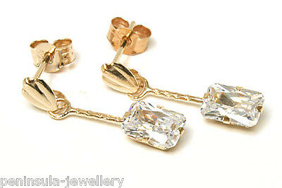 9ct Gold CZ Drop Earrings Gift Boxed Made in UK