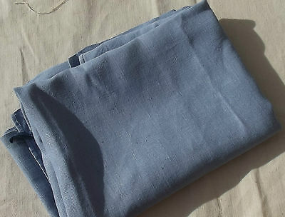 Vintage French Fabric Hemp Woven Pastel Blue Woad organic linen textile cutter