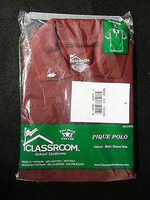 Unisex Youth XS 5/6 BURGUNDY Short Sleeved CLASSROOM School Uniform POLO SHIRT