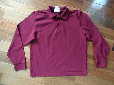 Unisex Youth XL BURGUNDY Long Sleeved CLASSROOM School Uniform POLO SHIRT