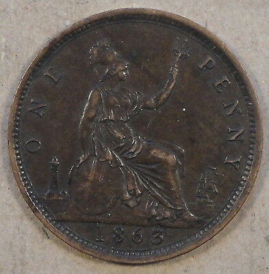 Great Britain 1863 Penny XF
