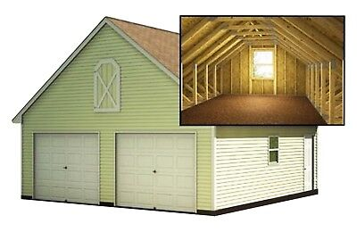 Two Car Garage Plans With Loft DIY Backyard Shed Building 24' x 24'
