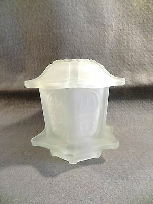 Vintage L E SMITH ? Oriental POGODA Frosted WHITE Glass FAIRY LAMP Candle Holder