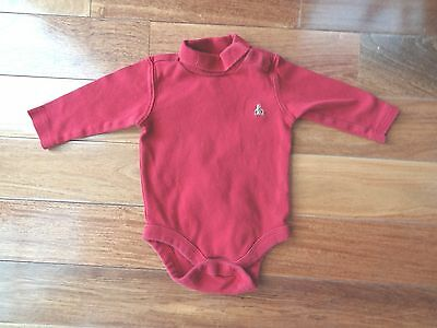 BABY GAP Infant 3-6 Months DARK RED TurtleNeck LONG Sleeve ONE PIECE Outfit
