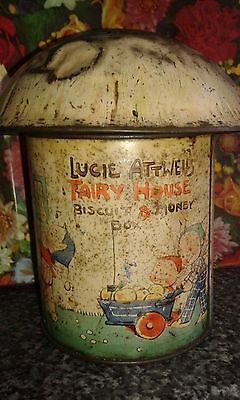 Mabel Lucie Attwell Vintage Fairy House Biscuit Tin