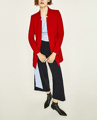 Zara Woman Ss/17 Red /black Inverted Lapel Frock Coat Ref.2164/293 New!all Size