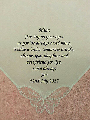 NEW - Mother of the Bride Personalised Wedding Hankie EMBROIDERED message gift