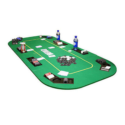 JP Commerce Texas Hold'em Folding Table Top with Cup Holders Green