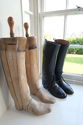 Long Wooden Trees Lasts With Vintage Leather Riding / Hunting Boots