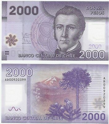Chile 2000 Pesos 2013 P-162c UNC Uncirculated Polymer Banknote