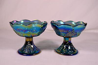 Pair Of Indiana Blue Carnival Glass Candle Holders - Harvest Grape