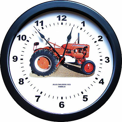 """New Vintage 1953 ALLIS CHALMERS Model B Tractor Wall Clock  MASSIVE 14"""" Round"""