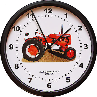 """New ALLIS CHALMERS Model B Tractor Wall Clock 10"""" Round Vintage Red Wall Clock"""
