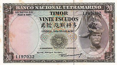 Unc Timor 20 Escudos 1967, More Than 1 Pcs Running Numbers