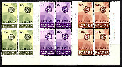 Cyprus 1967 SG302/304 Europa Sets in Corner MNH Blocks of 4
