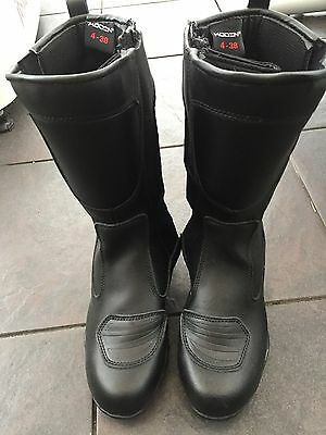 koden Ladies Women Motorcycle Black Real Leather Motorbike Touring Boots