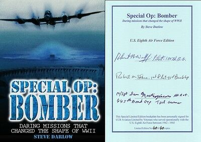 World War 2 Europe book signed author + 3 US 8th Air Force Bomber Aircrew vets