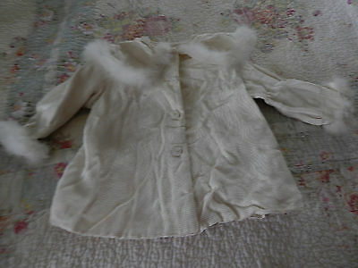 Vintage White  Baby Toddler Fur Trimmed  Coat Flannel Lined Hand Made