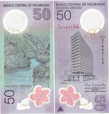 Nicaragua 50 Cordobas 2010 P-207 UNC Commemorative Polymer Banknote