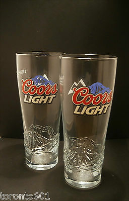 Set Of 2 Coors Light Pint Glasses 20oz Brand New 100% Genuine Nucleated