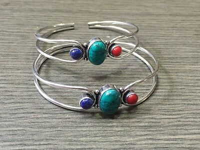 WHOLESALE LOT 2 pcsTURQUOISE &MULTI-STONE.925 STERLING SILVER PLATED BANGLE/CUFF