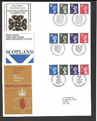 All Three Regional First Day Covers dated 23 January 1974