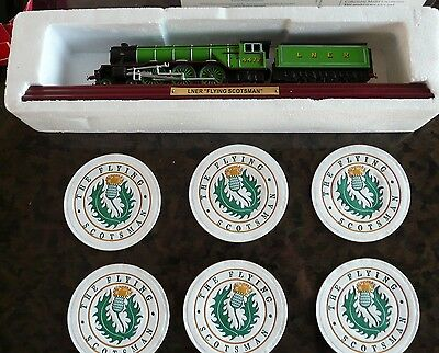 Vintage Original Fling Scotsman Drinks Coasters And A Mounted Flying Scot Model