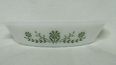 Pyrex split dish green flower without lid