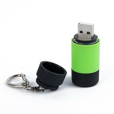 LED Flashlight Torch Keychain Pocket USB Rechargeable-  - GREEN