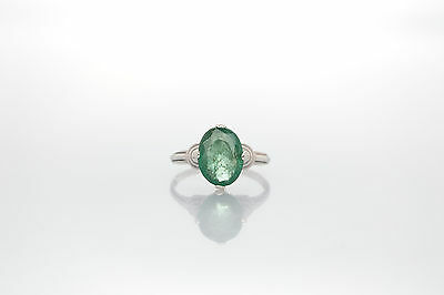 Vintage 3ct Colombian Emerald Sterling Silver Band Ring NICE!!!