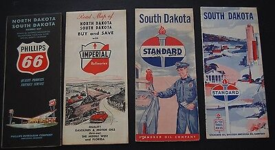 Lot of 8 Vintage South North Dakota Gas Station Road Maps - Phillips / Imperial