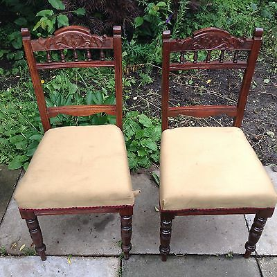 Antique Carved Wood Occasional Chair X 2