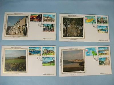FDI Benham 4 Small Silk Stamp covers, 'First Definitives', Alderney 1983 set