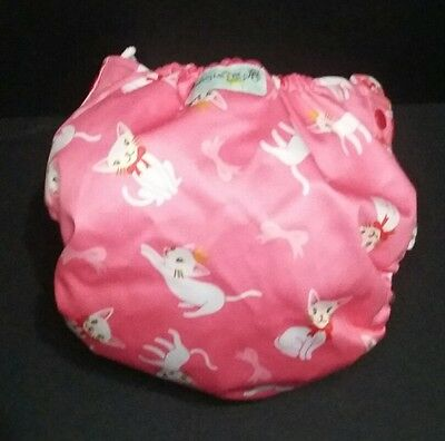 Jungle Roo One Size Picket Cloth Diaper Cover Pink Princess Cats Kitties