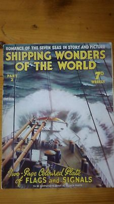 SHIPPING WONDERS OF THE WORLD MAGAZINE - Part 2; Coloured plate, flags & symbols