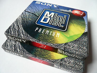 2x Sony MDW-74B  -  Premium  -  Minidisc - MD  - Minidisk - NEU in OVP - Sealed