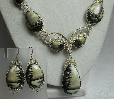 Vintage Handpainted Enameled Necklace & Earring Set with Painted RUSSIAN SCENE