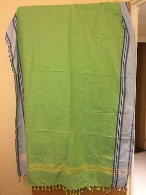 Green And Light Blue Cotton Shawl/sarong