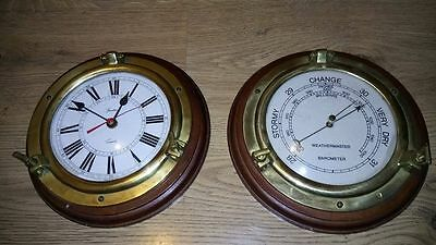 Vintage Antique Nautical Clock and Barometer