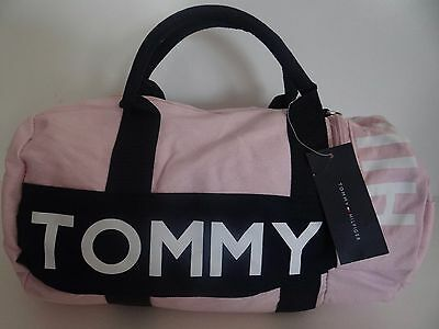 NWT Tommy Hilfiger Women's Light Pink Navy Blue Small Canvas Duffle Gym Bag