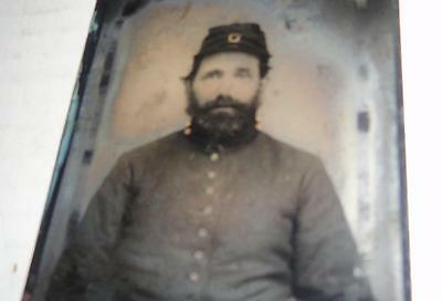 CIVIL WAR UNION INFANTRY SOLDIER 1/6th PLATE TINTYPE UNIFORM KEPI FULL CASE