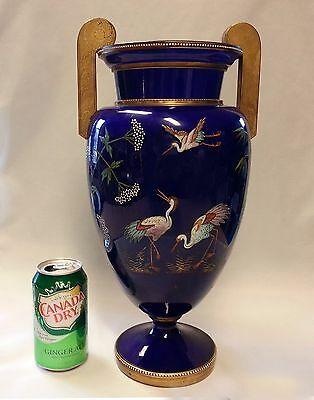Huge Beautiful Antique MOSER Enameled Glass Vase with Attached Handles