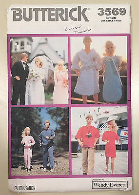 """Vintage Butterick 3569 Teen Fashion Doll Clothes Patterns 11.5"""" ©1989"""