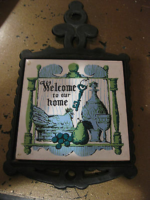 """Mw: Sanyo Trivet Black Wrought Iron & Ceramic Tile """"welcome To Our Home"""""""