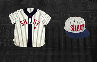 Eminem SHADY Ebbets Field Flannels Home Jersey & Hat LARGE