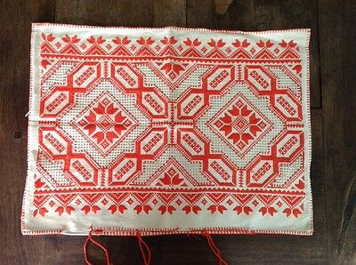 Vintage Romanian Hand-Embroidered Pillow Cover. Handmade In Romania.