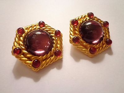 Vintage 80's Dubin Signed Jelly Belly Cabachon Lucite Earrings