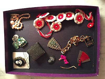 ANTIQUE Vintage 1920s Jewelry & Daguerreotype Photo w/ Frame 10 lot Interesting!
