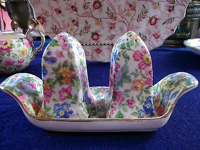 ERPHILA DEVON-CZECH (c1920-40) SALT & PEPPER & TRAY- CHINTZ! BEAUTIFUL! GREAT!