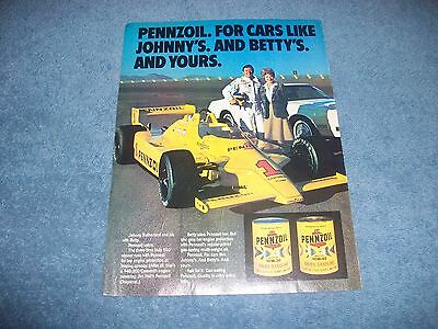 1981 Pennzoil Motor Oil Vintage Ad with Johnny Rutherford Indy Car